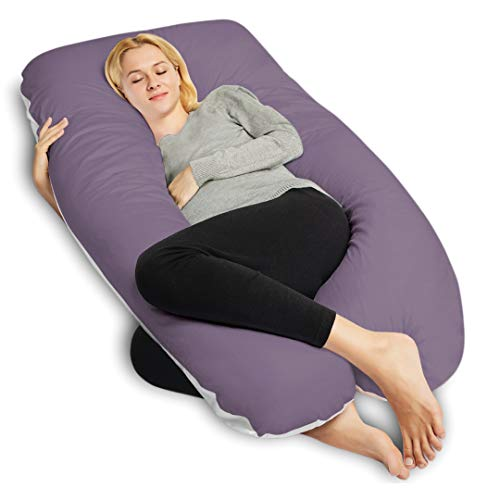 QUEEN ROSE Cooling Air Flow Pregnancy Pillow -Maternity Body Pillow U Shaped,Support Back/Neck/Head with Satin& Cotton Cover,Purple and White