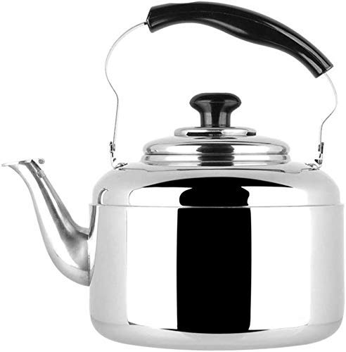 Hoge kwaliteit Whistling Kettle, 304 roestvrij staal Gas Ketel Cooker for inductie kookplaat, fornuis Gas, Whistle, Household (Color : Stainless Steel, Size : 5L)