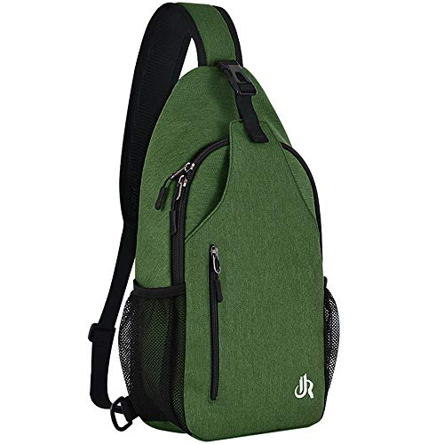15.7 Inch Sling Backpack Sling Bag Small Backpack for Women Men Kids Travel Hiking Bag (Fern Green)