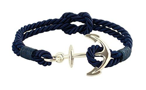 Pulsera Geralin Gioielli de color azul marino/plata para mujer con ancla, nudo marinero, hecho a mano