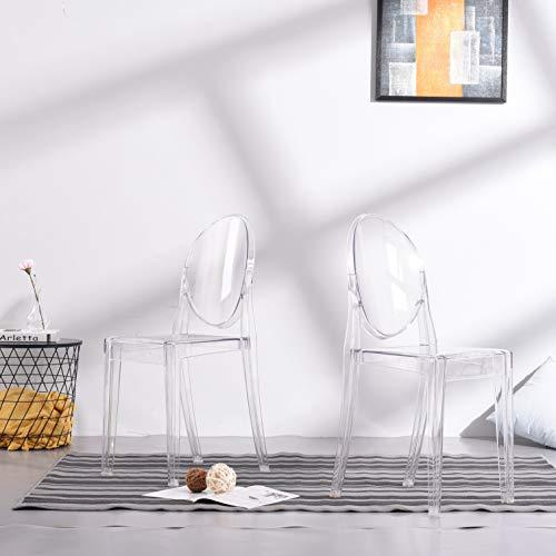 Panana 2 x Design Stuhl Transparent Moderner Esszimmerstuhl Wohnzimmerstuhl Komfortables Sitzen für Familie Restaurant und Außen - Transparent