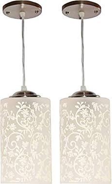 MBG Royal Fancy E27 Single Head Vintage Hanging Pendant Ceiling Light Lamp (White) - Pack of 2