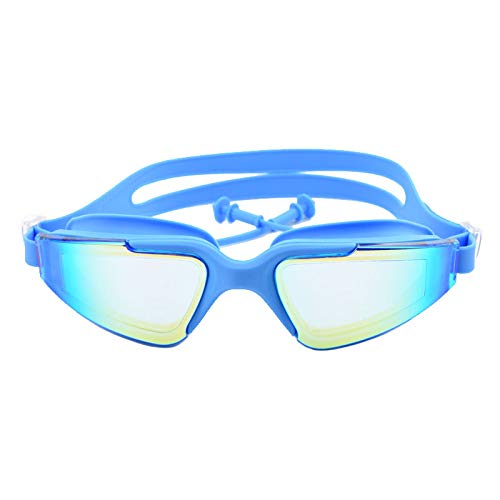 LCBYOG Gafas de natación para Adultos Marco Grande EARPLUG Profesional Anti-Niebla Hombres Mujeres Piscina Agua Nadar Eyewear Silicona Natación Gafas Gafas De NatacióN (Color : Sky Blue)