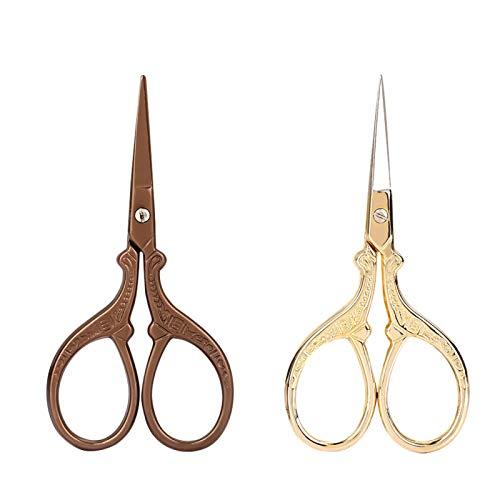 Akozon 2pcs Ciseaux De Sourcils 2CR13 Ciseaux De Maquillage En Acier Inoxydable Grue En Forme de Sourcils Cheveux Barbe