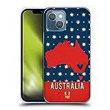 Head Case Designs Australia Mappe dei Paesi Stampate Cover in Morbido Gel Compatibile con Apple iPhone 13