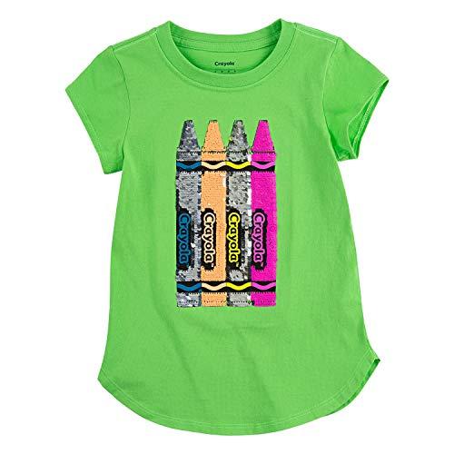 Crayola Children's Apparel Girls' Short Sleeve Graphic Crewneck T-Shirt Tee, Green/Crayon, 6X