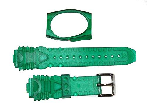 TechnoMarine 1034 - Cinturino per orologio in plastica gel da 17 mm, con coperchio e fibbia in acciaio inox, colore: Verde trasparente