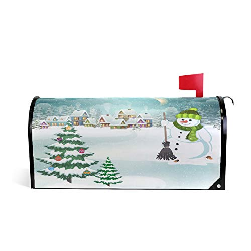Arbre de Noël Bonhomme de neige Balai Bienvenue magnétique Boîte aux lettres Boîte aux lettres Coque stratifiées, Winter Snow House Taille standard Makover Mailwrap Garden Home Decor 64.7x52.8cm multicolore
