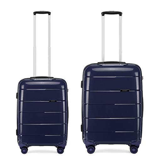 Kono Set of 2 (38L, 66L) Lightweight Durable PP Material Suitcase 20' Carry-on Hand Luggage and 24' Medium Suitcase with TSA Lock and YKK Zipper (Navy)