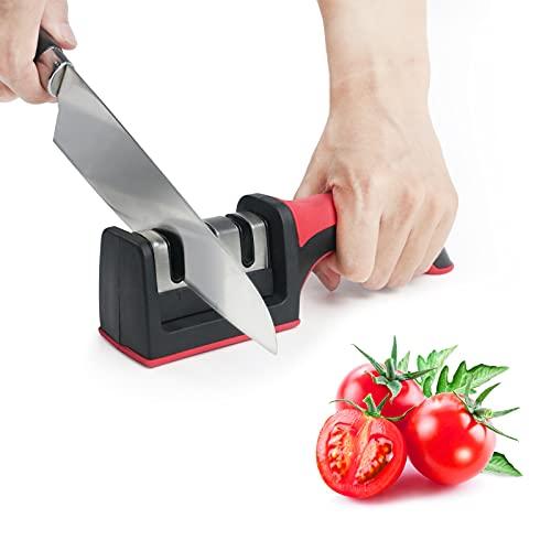 Zeewoo Afilador de Cuchillos Manual, Afilador Cuchillos Profesional 3 Etapas con asa de Diseño Ergonómico y Base Antideslizante, Apto para una Variedad de Cuchillos