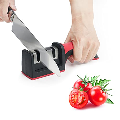 Affilacoltelli Professionale, Affilacoltelli Manuale da Cucina, 3 in 1 Affila Coltelli con Base Antiscivolo, Sicuro, Facile da Usare e da Pulire, Rosso
