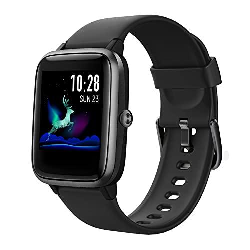 Hafury Smartwatch Tracker Fitness Orologio 1.3 Pollici Display touchscreen Donna Uomo Bambini IP 5ATM Cardiofrequenzimetro da Polso Monitoraggio di calorie per Android iOS Xiaomi Samsung Huawei (Nero)
