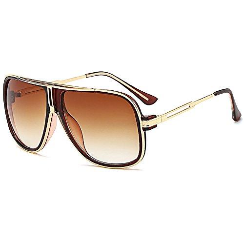 SHEEN KELLY Retro 80er Vintage Piloten Sonnenbrillen Metall Damen Herren Die klassische eyewear Neutral Große Braun brillen
