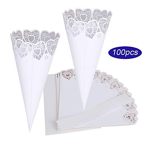 BUONDAC 100 Pezzi Coni Portariso Bianco Cuore Portaconfetti Scatoline Bomboniere Matrimonio Nozze con Autoadesivo