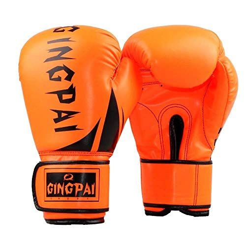 HJBH Boxen Professionelle Boxhandschuhe Muay Thai Kinder Erwachsene Sanda Sandsackhandschuhe Training Wettbewerb Fight Boy Atmungsaktive Handschuhe (Color : Orange, Size : 10oz)