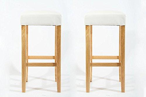 2x Edler Holzbarhocker Barhocker Holz weiß Holzgestell Natur