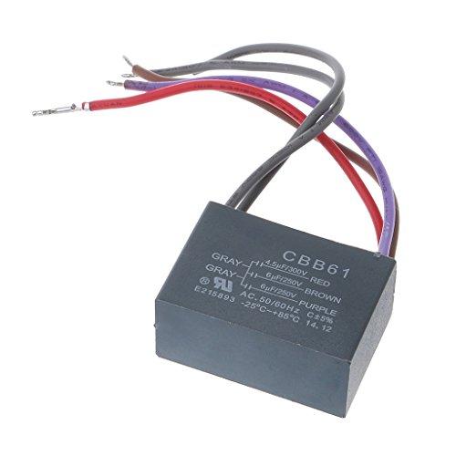 ESden Condensador de ventilador de techo CBB61 4.5uf+6uf+6uf 5 cables 250V 5 velocidades condensador de arranque