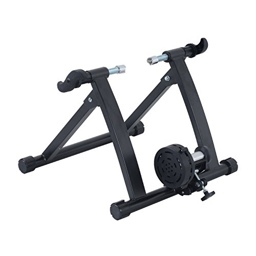 Soozier Folding Indoor Magnetic Bike Exercise Trainer Converter Bicycle Training Stand Home Workout Exerciser Steel (Black)