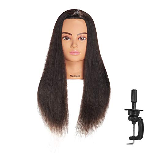 Hairingrid Mannequin Head 24'-26'100% Human Hair Hairdresser Cosmetology Mannequin Manikin Training Head Hair and Free Clamp Holder (R71906LB0218H)