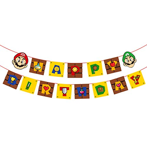 Super Mario Banner Happy Birthday Party Supplies Game Themed Party Decorations for Kids