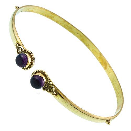 Chic-Net Brass Oberarmreif Punkte Gold Amethyst rund Seil Spiralbogen nickelfrei verstellbar Tribal Armreif