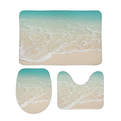 FoDuoDuo Set di 3 tappeti da bagno con motivo a onde di mare e onde di mare, tappeto da bagno, tappeto a forma di U, copriwater antiscivolo, 39,9 x 59,9 cm