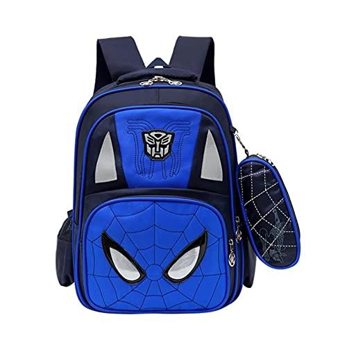 Mochila para niños Mochila Escolar Primaria de la Escuela Primaria Spiderman Mochila para niños Regalo de Mochila (Color : Blue)