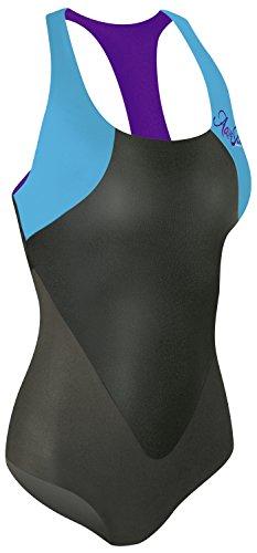 Camaro Damen Badeanzug Aqua Skin Swimsuit, Schwarz/Baia, XS