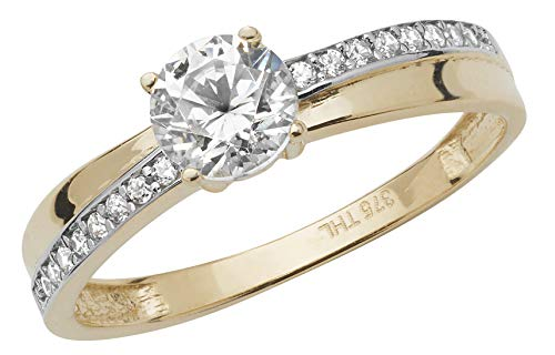 Attractive 9ct Gold Ladies Solitaire Engagement Ring with Cultured Cubic Zirconia/CZ WJS17097
