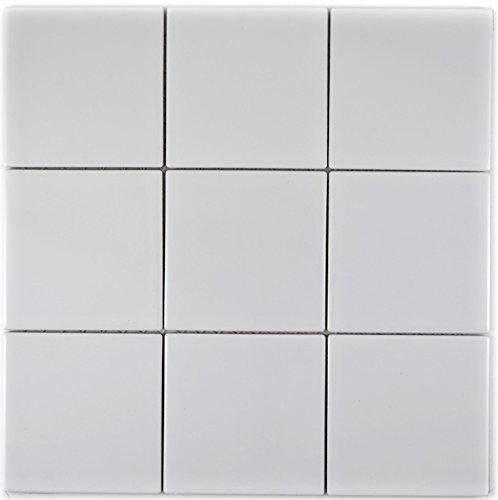 Mosaik Fliese Keramik weiß glänzend für WAND BAD WC DUSCHE KÜCHE FLIESENSPIEGEL THEKENVERKLEIDUNG BADEWANNENVERKLEIDUNG Mosaikmatte Mosaikplatte 1 Matte