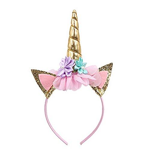 Glitzer-Haarreif mit Einhorn-Motiv, Haarband / Stirnband, Motiv: Blumen und Blüten, Party-Dekoration, Cosplay, Kostüm, Gold