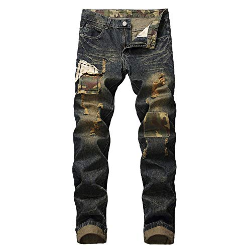 ANJUNIE Men's Casual Straight Hole Jeans Ripped Distressed Denim Trouser Long Pants (2-Brown,42)