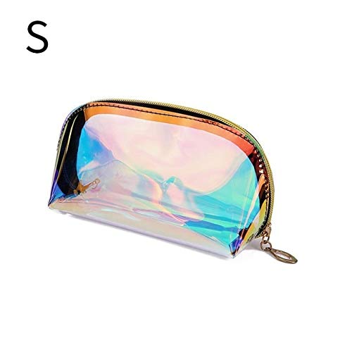 Mode Femmes Maquillage Sacs Case Laser cosmétiques Transparent Trousse de Maquillage Sac à Main Jelly Portable Make Up Pouch Organisateur (Color : S)
