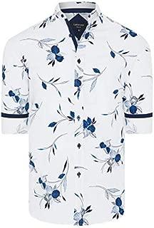 Tarocash Men's Logan Floral Slim Print Shirt Regular Fit Long Sleeve Sizes XS-5XL for Going Out Smart Occasionwear