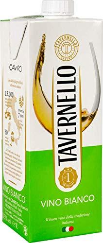 Tavernello Weißwein Italiens - Trockener und Duftender Fruchtiger Duft - Ideal zu Vorspeisen, weißem Fleisch und Fisch - Aseptischer Tetra Brik-Behälter 10,5% vol - 1 Liter (Weiß)