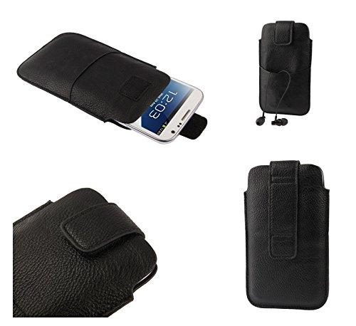 DFVmobile - Etui Tasche Schutzhülle aus Kunstleder mit Klettbandverschluss & Vordertasche für GIONEE Slim S5.5 - Schwarz