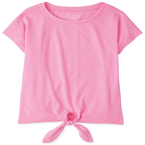 The Children's Place Girls' Tie Front Short Sleeve Top, Scooter Pink NEON, L (10/12)