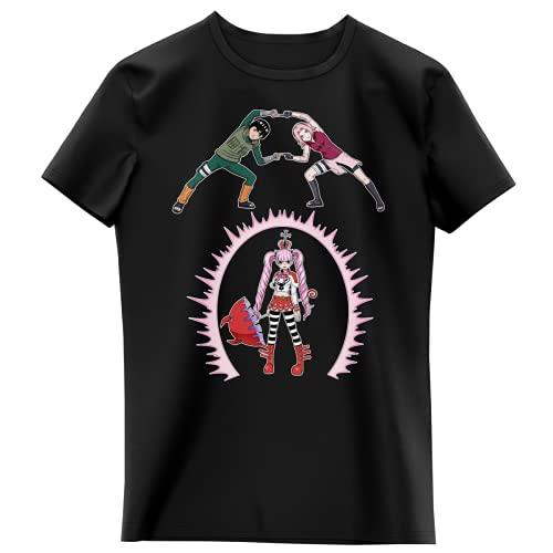 T-Shirt Enfant Fille Noir Parodie Naruto - One Piece - Sakura, Rock Lee et Perona - Fusion No Jutsu !! (T-Shirt Enfant de qualité Premium de Taille 5-6 Ans - imprimé en France)