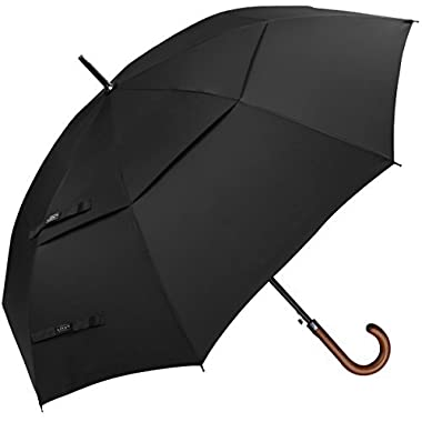 G4Free Wooden J Handle Classic Golf Umbrella Windproof Auto Open 52 inch Large Oversized Double Canopy Vented Rainproof Cane Stick Umbrellas for Men Women (Black)