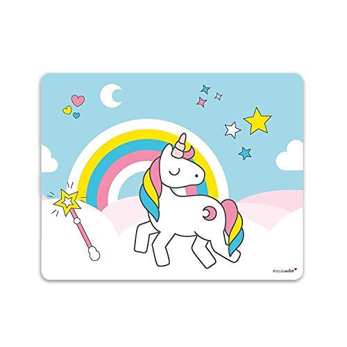 Einhorn-Mauspad I 24 x 19 cm I Mousepad in Standard-Größe, rutschfest I Regenbogen Motiv süß I für Mädchen Kinder Teenager I dv_144