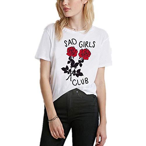 XIAOBAOZITXU Chicas Tristes Carta Rosa Estampado Mujer Camiseta Camisetas Mujer Nuevo Verano...