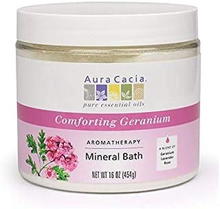 Aura Cacia Comforting Geranium Aromatherapy Mineral Bath | 16 oz. Jar | Rosa damascena