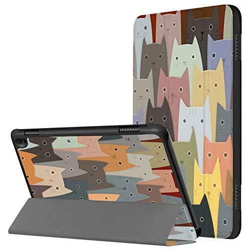 HUASIRU Pintura Caso Funda para Fire HD 8 Tableta (10ª generación, lanzada en 2020) - La Cubierta Frontal Triple con Auto-Reposo/Activación, Gatos