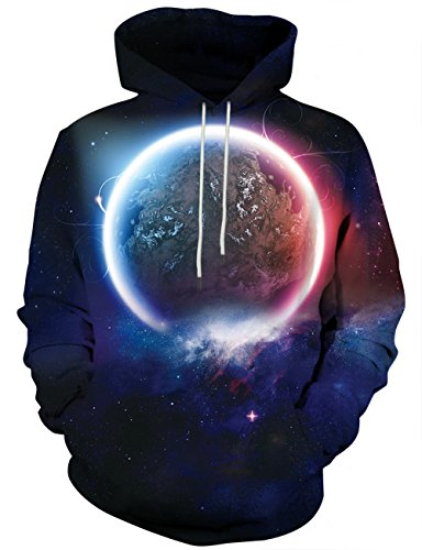 Yasswete Unisex Outerspace Print Casual Sports Hoodies with Big Pockets S