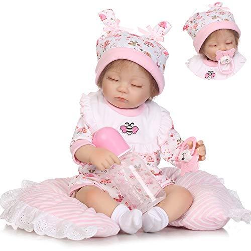 iCradle Poupées Simulations Reborn Baby Dolls 17 Pouces 43cm Belle Réaliste À La Recherche De Doux Silicone Vinyle Bébé Fille Poupée Toddler Jouets Enfants Cadeaux (Girl)