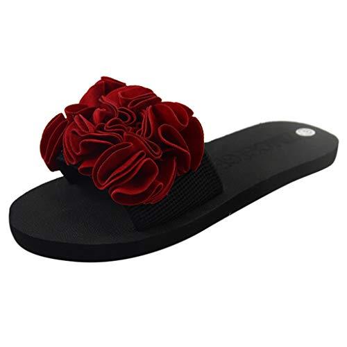 LANSKIRT Zapatillas Planas Flores Bohemias para Mujer Sandalias Verano Zapatos Playa Antideslizantes Sandalias Vestir