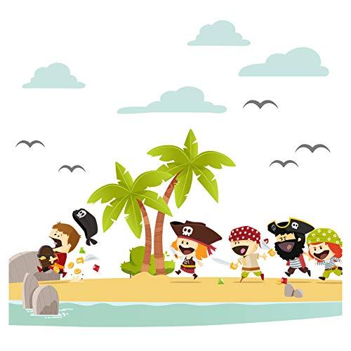 Wandaro Little Deco DL333 Sticker Mural décoratif pour Chambre d'enfant Motif Pirate Insel & Schatz I