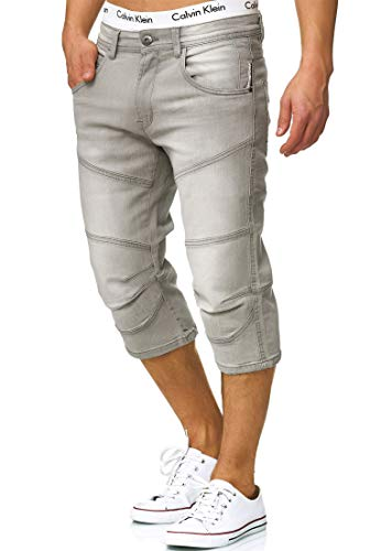 Indicode Herren Fortune 3/4 Jeans Shorts mit 5 Taschen aus 98% Baumwolle |Kurze Denim Stretch Sommer Hose Used Look Washed Regular Fit Men Short Pants Freizeithose für Männer Lt Grey XL