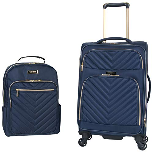 Kenneth Cole Reaction Women's Chelsea 2-Piece 20' Expandable 4-Wheel Carry-On Suitcase & Matching 15' Laptop Backpack, Navy