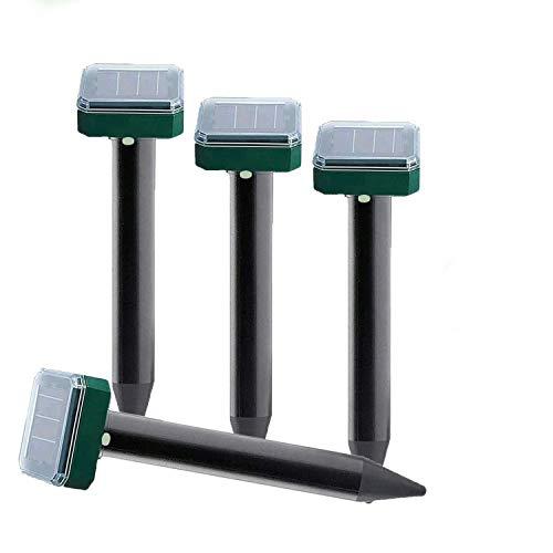 NAIYO Solar Mole Repellent 4 Pack,Solar Snake Repellent for Outdoor,Solar Mole Repellent Sonic Device Ultrasonic Gopher Repellent for Garden & Yard